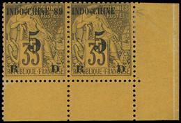 * INDOCHINE -  2a : 5 Sur 35c. Violet-noir Sur Jaune, SANS 89 Tenant à Normal, Cdf, TB - Ohne Zuordnung