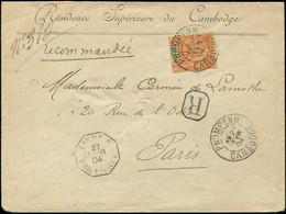 Let INDOCHINE -  12 : 40c. Orange Obl. Càd PNOMPENH CAMBODGE 27/2/04 S. Env. Rec., Arr. Paris, TB - Ohne Zuordnung