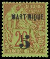 * MARTINIQUE -  1 : 5 Sur 20c. Brique Sur Vert, TB. Br - Ohne Zuordnung