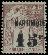 * MARTINIQUE -  15 : 15c. Sur 4c. Lilas-brun Sur Gris, Tirage 50, TB, Certif. Calves Et Jacquart - Ohne Zuordnung