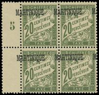 ** MARTINIQUE -  Taxe 3 : 20c. Olive, SURCHARGE à CHEVAL, BLOC De 4 Bdf Mill.5, TB - Ohne Zuordnung