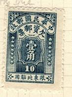 China North Eastern Provinces  Scott J1 1947 Postage Due  10c Dark Blue,mint - Chine Du Nord-Est 1946-48