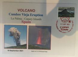 (3 A 8) Spain - La Palma In Canary Island - Cumbre Vieja Volcano Eruption (with Australian Volcano Stamp) - Vulkane