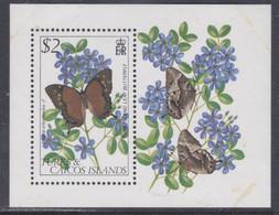 Turks Et Caiques BF N° 36 XX Faune Et Flore : Papillon Et Fleur,  Le Bloc Sans Charnière, TB - Turks- En Caicoseilanden