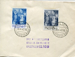 66439 Vaticano,  Card With 2 Stamps Episcopal Ordinatin Of Papst Pius XII And Postmark  30.4.1943 - Cartas