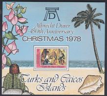 Turks Et Caiques BF N° 13 XX Noël Et 450è Anniversaire De La Mort D'A. Dürer,  Le Bloc Sans Charnière, TB - Turks- En Caicoseilanden