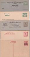 BAYERN ENTIER POSTAL/GANZSACHE/POSTAL STATIONERY LOT DE 5 CARTES AVEC REPONSE + 4 CARTES - Ganzsachen