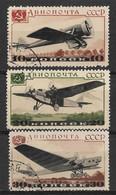 USSR, Russia 1937 10K 20K 30K Planes. Air Post Stamps. Michel 571-573/Scott C69-C71. Used - Usati