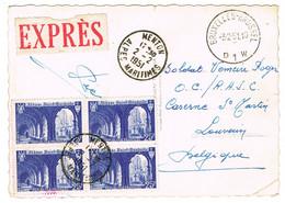 842 BLOC DE 4 SUR CPSM ADRESSEE DE MENTON A LOUVAIN BELGIQUE EN EXPRESS CARTE PLIEE - 1921-1960: Moderne