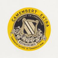 ETIQUETTE  DE   CAMEMBERT GRANDVILLE AUBE - Fromage