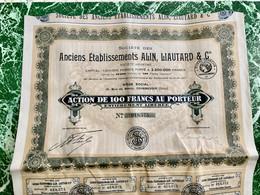 S.A.  Des  ANCIENS  ÉTABLISSEMENTS  ALIN , LIAUTARD  &  Cie --------Action  De  100 Frs - Industry