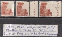 INDIA 1981,1982,  Sixth Definitive Series, Rural Prosperity, 20p, Mother Feeding Child, 3 Different  Varieties MNH(**) - Ungebraucht