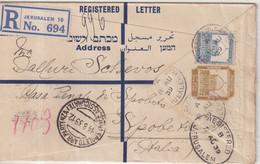 """PALESTINE : ENTIER POSTAL . REC . AVEC COMPlt D'AFFRt  . """" JERUSALEM """" . POUR L'ITALIE . 1939  . - Palestine"""