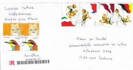 STAMPS - TIMBRES -  LETTRE RECOMMANDÉ- PORTUGAL -EURO 2004- DRAPEAU DE ALLEMAGNE, LETTONIE, PAYS-BAS ET ITALIE ET AUTRES - Championnat D'Europe (UEFA)