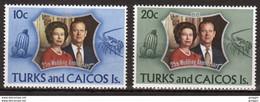 Turks And Caicos Set Of Stamps To Celebrate 25th Wedding Anniversary. - Turks- En Caicoseilanden