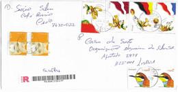 TIMBRES - STAMPS - LETTRE RECOMMANDÉ- PORTUGAL - EURO 2004 - DRAPEAU PORTUGAL, LETTONIE, ALLEMAGNE ET FRANCE ET AUTRES - Championnat D'Europe (UEFA)
