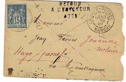 TP N° 90 Sur Petite Enveloppe De La Haye Pesnel Pour La Meurdraquière Du 30/01/97 Avec Cachet Retour à L'envoyeur 4773e - 1877-1920: Semi Modern Period