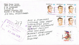 41797. Carta Aerea Certificada ALAMINOS (Pangasinan) Filipinas 2003 To England - Philippines