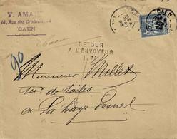 TP N° 90 Sur Enveloppe De Caen Pour La Haye Pesnel Du 5/09/96 Avec Cachet Retour à L'envoyeur 1714 - 1877-1920: Semi Modern Period