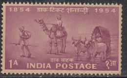 India MNH 1954, 1a Centenary, Postal Transport, Philately, Postal History, Camel. Bullock Cart, Cow, Animal, Runner, - Ungebraucht