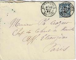 TP N° 90 Sur Enveloppe De Avranches Pour Le Ministère Affaires Etrangères Du10/11/90 Avec Correspondance - 1877-1920: Semi Modern Period