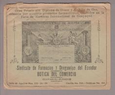 Ecuador 1934-06-30 Guayaquil Decobrief (Rückseite) Nach Paris Sindicato De Farmacias Y Droguerias - Ecuador