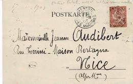 Entier Postal N°124 Utilisé Comme Timbre Sur Carte Postale De Menton Pour  Nice Du 18/12/03 - 1877-1920: Semi Modern Period