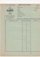 FEUILLE  DE COMMANDE  ARTICLE  PUBLICITAIRE       TINTIN - Non Classés