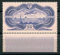 RC 21386 FRANCE COTE 1500€ PA N° 15 - 50F BURELÉ AVEC BORD DE FEUILLE NEUF ** MNH SUPERBE - 1927-1959 Mint/hinged