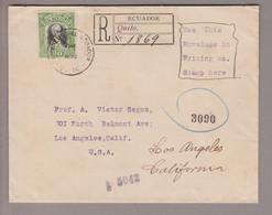 Ecuador 1908-06-16 Quito R-Brief Nach Los Angeles - Ecuador