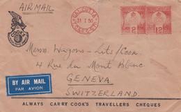 INDIA  -  CALCUTTA - ALWAYS CARRY COOK'S - BUSTA VIAGGIATA BY AIR MAIL - VG. PER GENEVA - SWITZERLAND - Briefe U. Dokumente