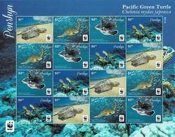 PENRHYN 2014 Mi 761-764 WWF PACIFIC GREEN TURTLE MINT SHEETLET ** - Penrhyn