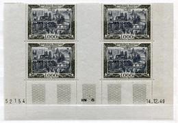 RC 21387 FRANCE COTE 900€ PA N° 29 - 1000F VUE DE PARIS BLOC DE 4 COIN DATÉ DU 14.12.49 NEUF ** MNH - 1927-1959 Mint/hinged