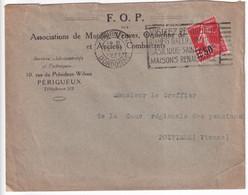 1927 - SEMEUSE SURCHARGE ! YVERT N°225 SEUL Sur LETTRE De PERIGUEUX (DORDOGNE) - 1906-38 Semeuse Con Cameo
