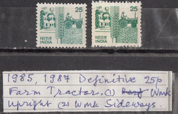 INDIA 1985 6th Definitive Series,, 25p,Rural Prosperity, Village,wheat, Tractor, 2 Different Varieties,  MNH(**) - Ungebraucht