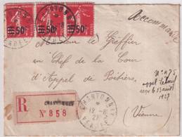 1927 - SEMEUSE SURCHARGE ! YVERT N°225 BANDE De 3 ! Sur LETTRE RECOMMANDEE De CHANTONNAY (VENDEE) - 1906-38 Semeuse Con Cameo