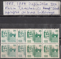 INDIA 1985 6th Definitive Series,, 25p,Rural Prosperity, Wheat, Tractor, 2 Different Varieties, Blocks Of 4,  MNH(**) - Ungebraucht
