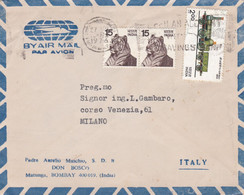 INDIA  - BOMBAY - PADRE AURELIO - DON BOSCO - BUSTA VIAGGIATA AIR MAIL - VG. PER MILANO - ITALY - Briefe U. Dokumente