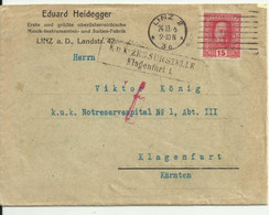Censored Commercial Cover From Linz To Klagenfurt. 1916. - Storia Postale