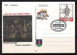 Croatia 2021 Culinary Art Vincent Van Gogh Postcard Overprint Postmark 10340 VRBOVEC 27.08. - Kroatien