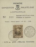 1937. Souvenir Expo Philatélique Léopoldville - 1923-44: Covers