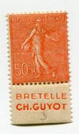 """FRANCE N°199e * AVEC BANDE PUBLICITAIRE """" BRETELLE CH. GUYOT """" - Publicités"""