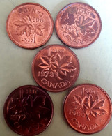 CANADA 5 X 1 CENT 1960 + 1972 +1973 +1982 +1985 Pointed 5 KM 49 & 59.1 & 132 Alm. UNC - Canada