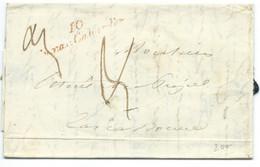 MARQUE POSTALE / CURSIVE 10 CUXAC CABARDES POUR CARCASSONNE 1842 / TAXE PORT DOUBLE / LE PUJOL - 1801-1848: Precursori XIX