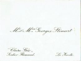 """Carte Visite. Knokke-Le Zoute. Villa """"Claire-Géo"""". Sentier Flamand. Georges Stimart. - Tarjetas De Visita"""