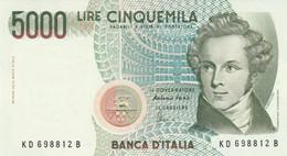 BANCONOTA ITALIA LIRE 5000 BELLINI UNC (VS446 - 5000 Liras
