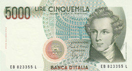 BANCONOTA ITALIA LIRE 5000 BELLINI UNC (VS447 - 5000 Liras