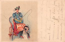 Féminisme - Femme Cochère, Fouet, Homme Avec Mords Et Oeillères Tirant La Calèche - Cachet 1901 - Women