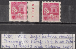 INDIA  1980 1982  6th Definitive Series, 35p, FAMILY WELFARE, Two  Perforation Varieties 2v MNH(**) - Ungebraucht