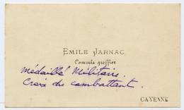 Carte De Visite.Emile Jarnac Commis Greffier Cayenne Croix Du Combattant écrivant Au Gouverneur De Guyane.1944. - Other